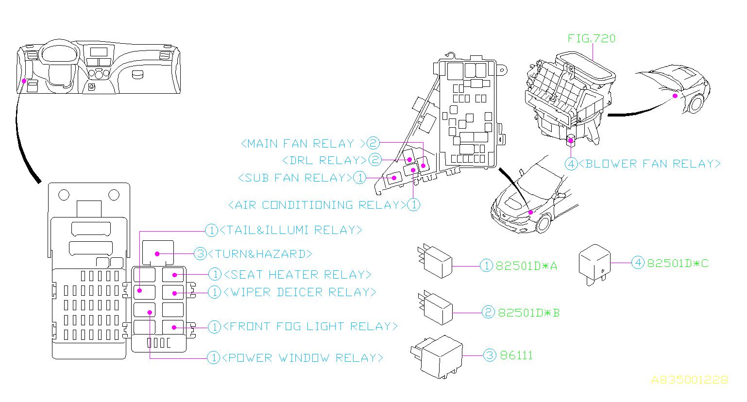 82501ag08a subaru relay fuse  box  electrical cmas